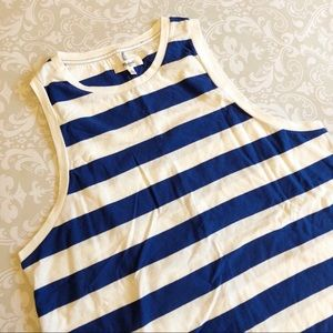 Madewell Blue and White Striped Muscle Top Medium